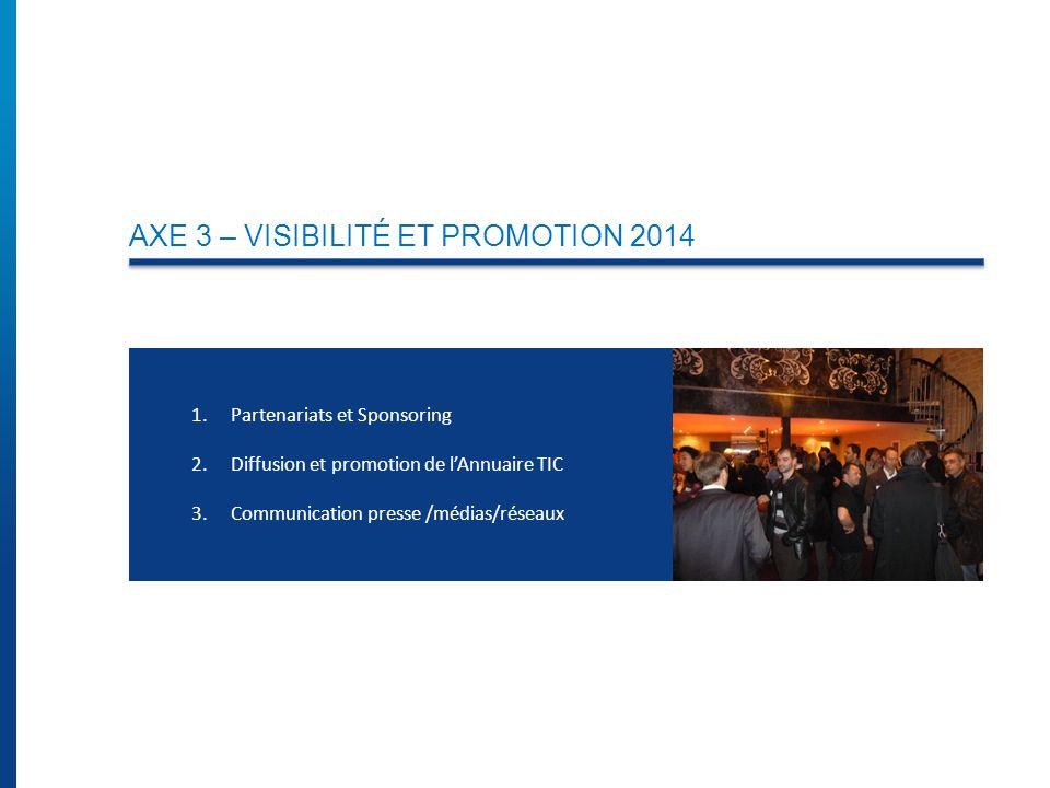 AXE 3 – VISIBILITÉ ET PROMOTION 2014 1.Partenariats et Sponsoring 2.Diffusion et promotion de lAnnuaire TIC 3.Communication presse /médias/réseaux