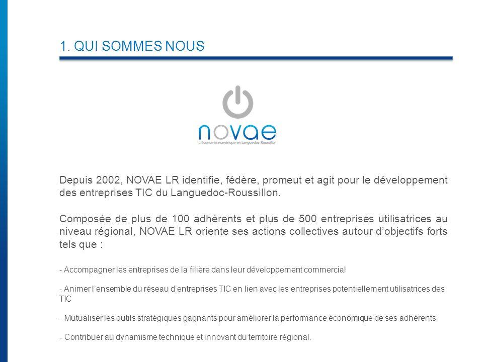 1. QUI SOMMES NOUS Depuis 2002, NOVAE LR identifie, fédère, promeut et agit pour le développement des entreprises TIC du Languedoc-Roussillon. Composé