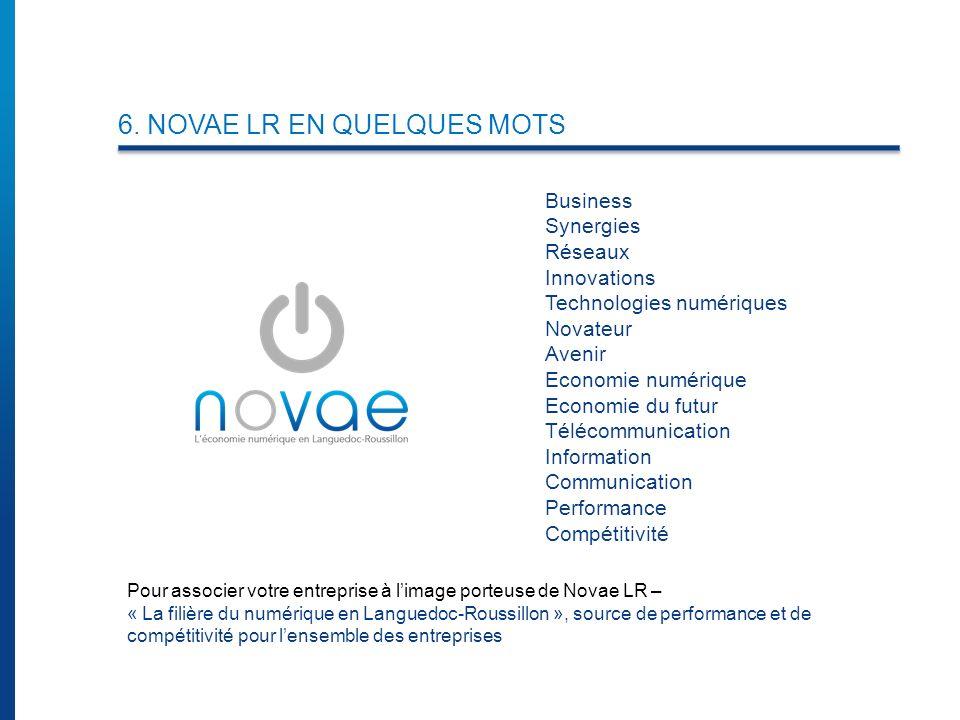 6. NOVAE LR EN QUELQUES MOTS Business Synergies Réseaux Innovations Technologies numériques Novateur Avenir Economie numérique Economie du futur Téléc