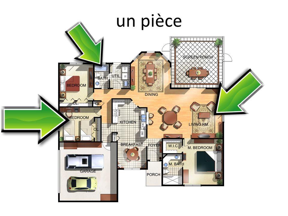 une cuisine une salle à manger une chambre une salle de séjour les toilettes (f.)/ les W.C.