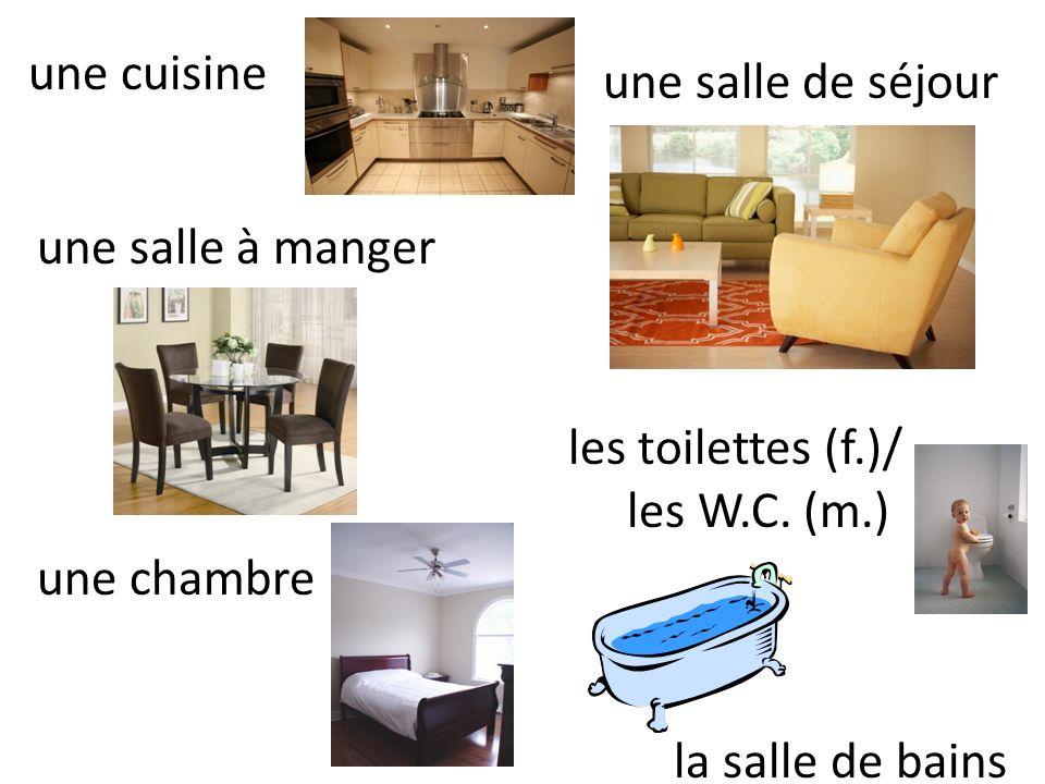 une cuisine une salle à manger une chambre une salle de séjour les toilettes (f.)/ les W.C. (m.) la salle de bains