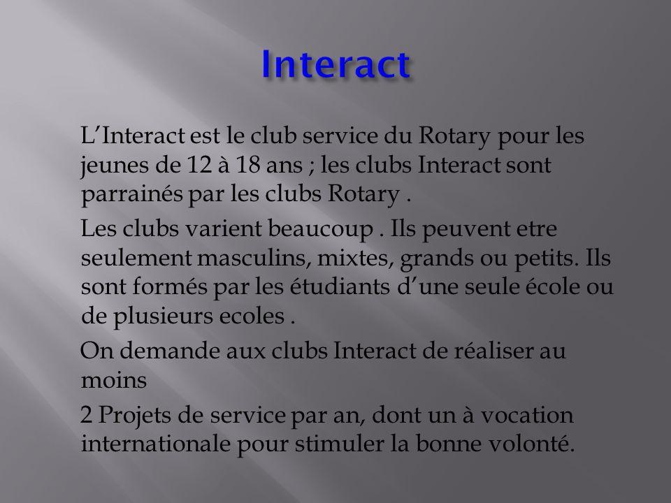 LInteract est le club service du Rotary pour les jeunes de 12 à 18 ans ; les clubs Interact sont parrainés par les clubs Rotary.
