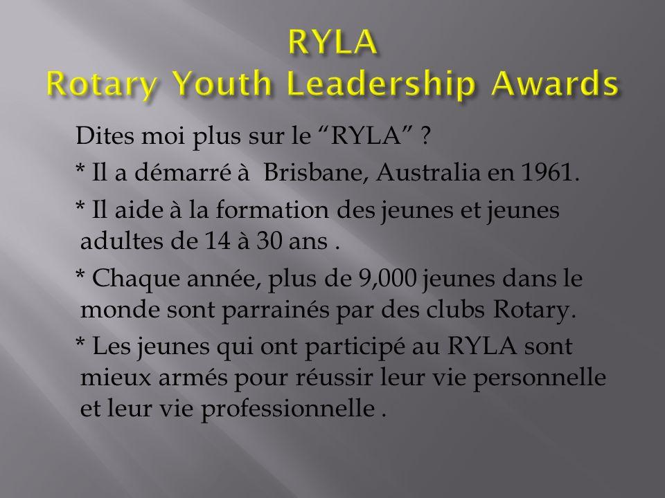 Dites moi plus sur le RYLA . * Il a démarré à Brisbane, Australia en 1961.