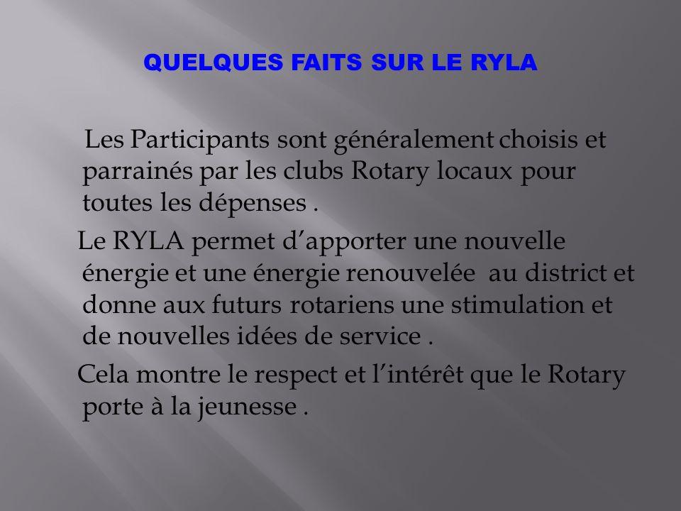Les Participants sont généralement choisis et parrainés par les clubs Rotary locaux pour toutes les dépenses.