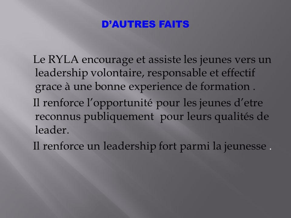 Le RYLA encourage et assiste les jeunes vers un leadership volontaire, responsable et effectif grace à une bonne experience de formation.