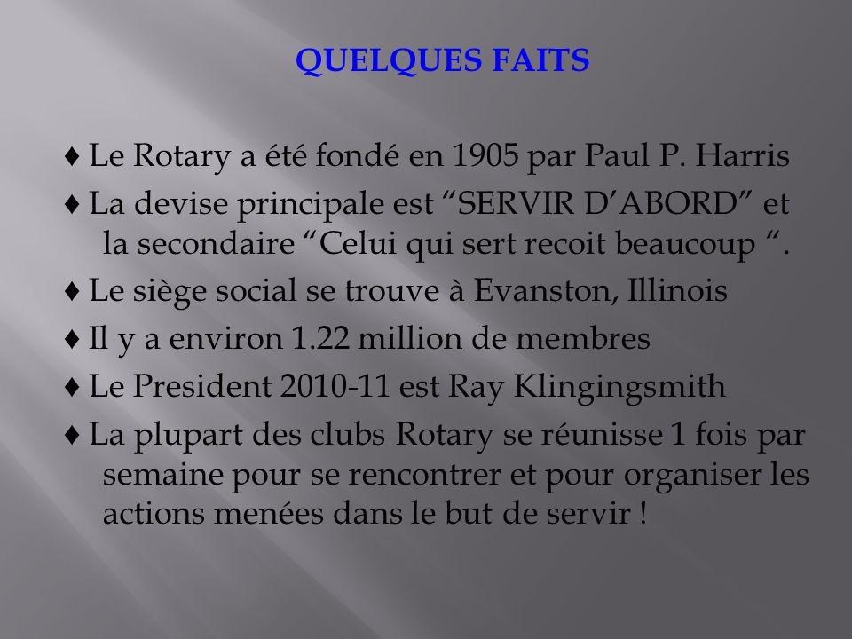 QUELQUES FAITS Le Rotary a été fondé en 1905 par Paul P.