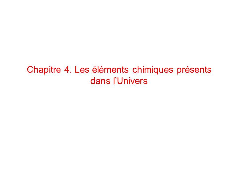 Chapitre 4. Les éléments chimiques présents dans lUnivers