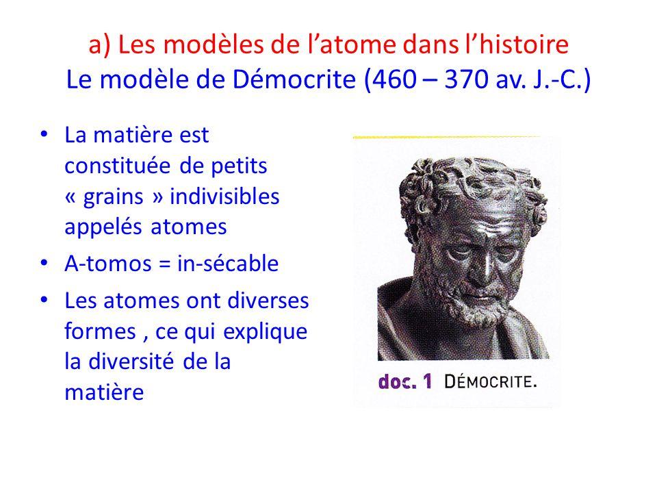 a) Les modèles de latome dans lhistoire Le modèle de Démocrite (460 – 370 av. J.-C.) La matière est constituée de petits « grains » indivisibles appel