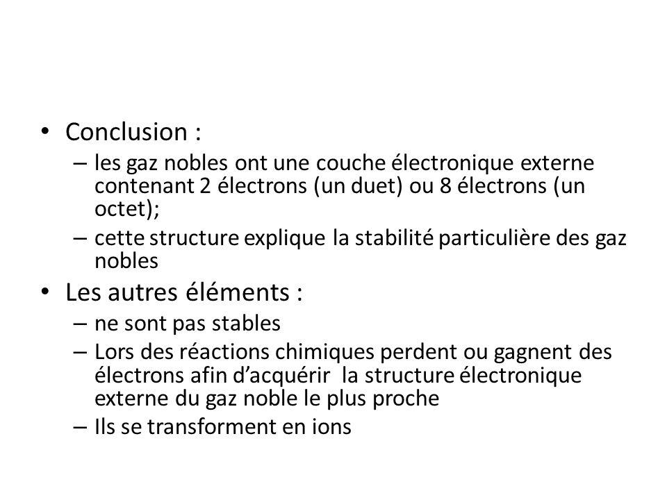 Conclusion : – les gaz nobles ont une couche électronique externe contenant 2 électrons (un duet) ou 8 électrons (un octet); – cette structure expliqu