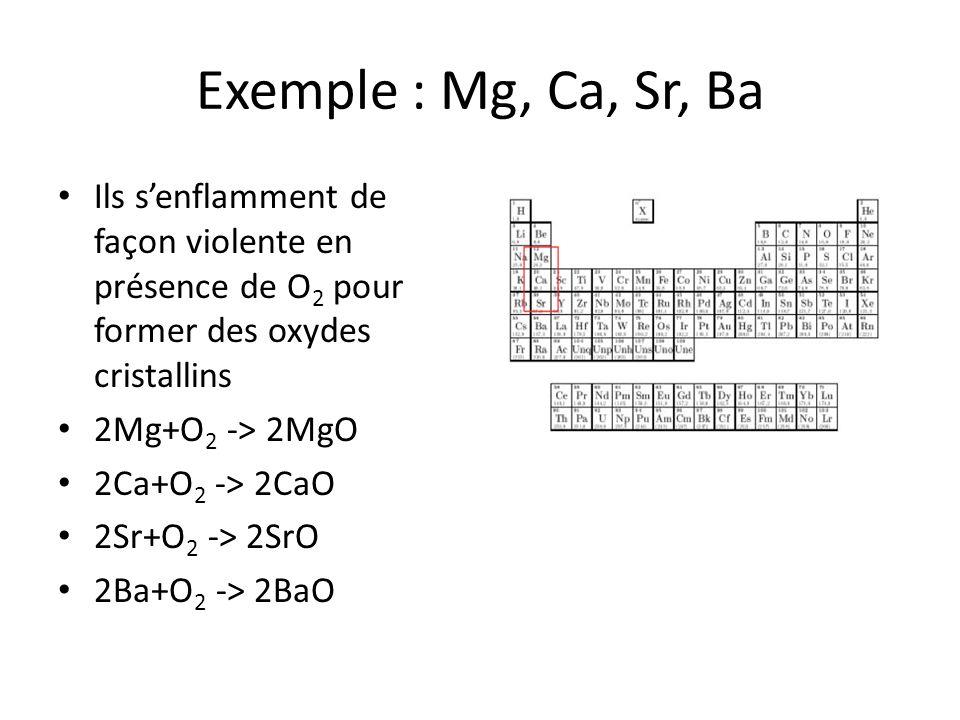 Exemple : Mg, Ca, Sr, Ba Ils senflamment de façon violente en présence de O 2 pour former des oxydes cristallins 2Mg+O 2 -> 2MgO 2Ca+O 2 -> 2CaO 2Sr+O