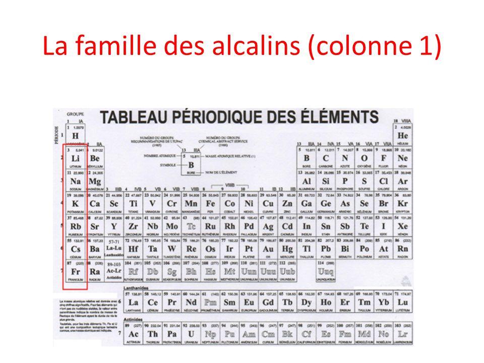 La famille des alcalins (colonne 1)