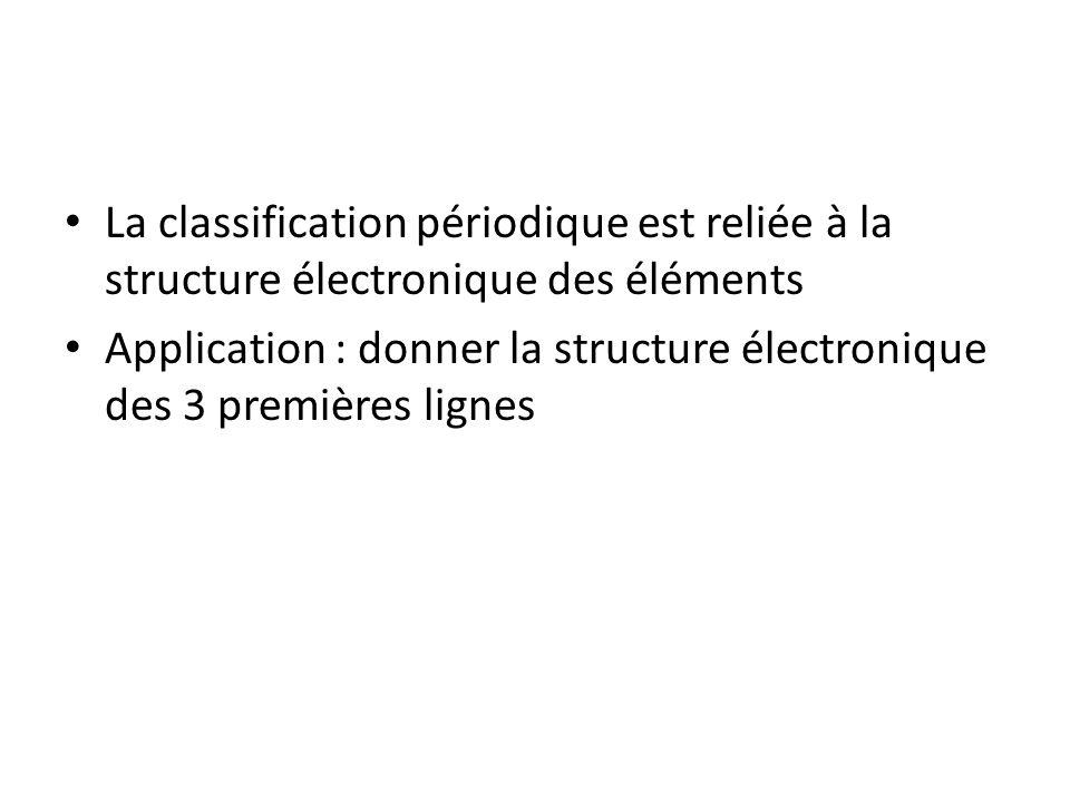 La classification périodique est reliée à la structure électronique des éléments Application : donner la structure électronique des 3 premières lignes