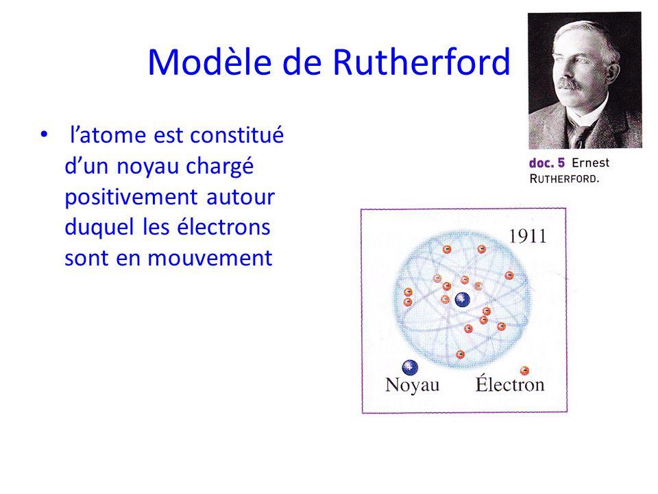 Modèle de Rutherford latome est constitué dun noyau chargé positivement autour duquel les électrons sont en mouvement
