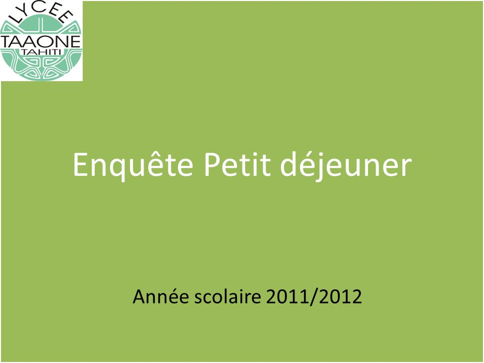 Enquête Petit déjeuner Année scolaire 2011/2012