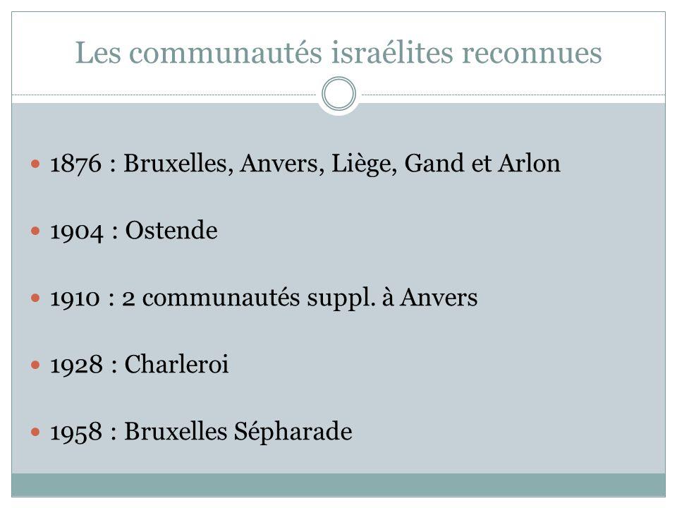 Les communautés israélites reconnues 1876 : Bruxelles, Anvers, Liège, Gand et Arlon 1904 : Ostende 1910 : 2 communautés suppl.