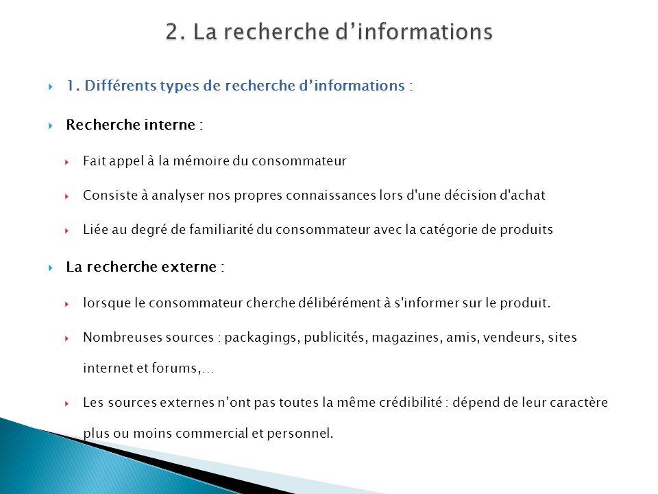 1. Différents types de recherche dinformations : Recherche interne : Fait appel à la mémoire du consommateur Consiste à analyser nos propres connaissa