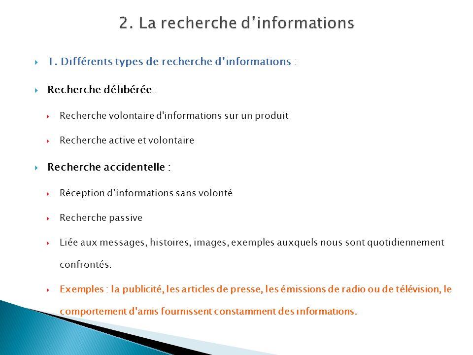 1. Différents types de recherche dinformations : Recherche délibérée : Recherche volontaire d'informations sur un produit Recherche active et volontai