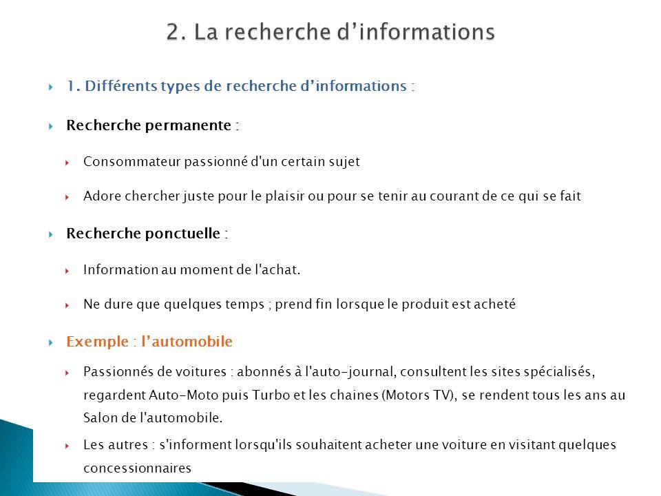 1. Différents types de recherche dinformations : Recherche permanente : Consommateur passionné d'un certain sujet Adore chercher juste pour le plaisir