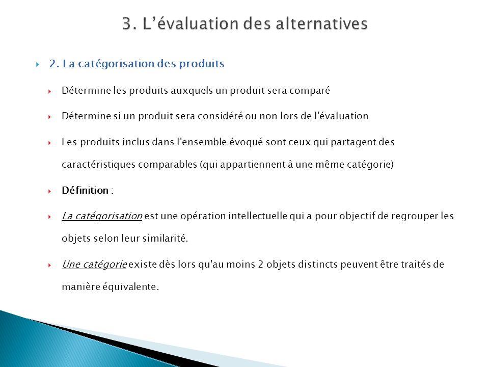 2. La catégorisation des produits Détermine les produits auxquels un produit sera comparé Détermine si un produit sera considéré ou non lors de l'éval