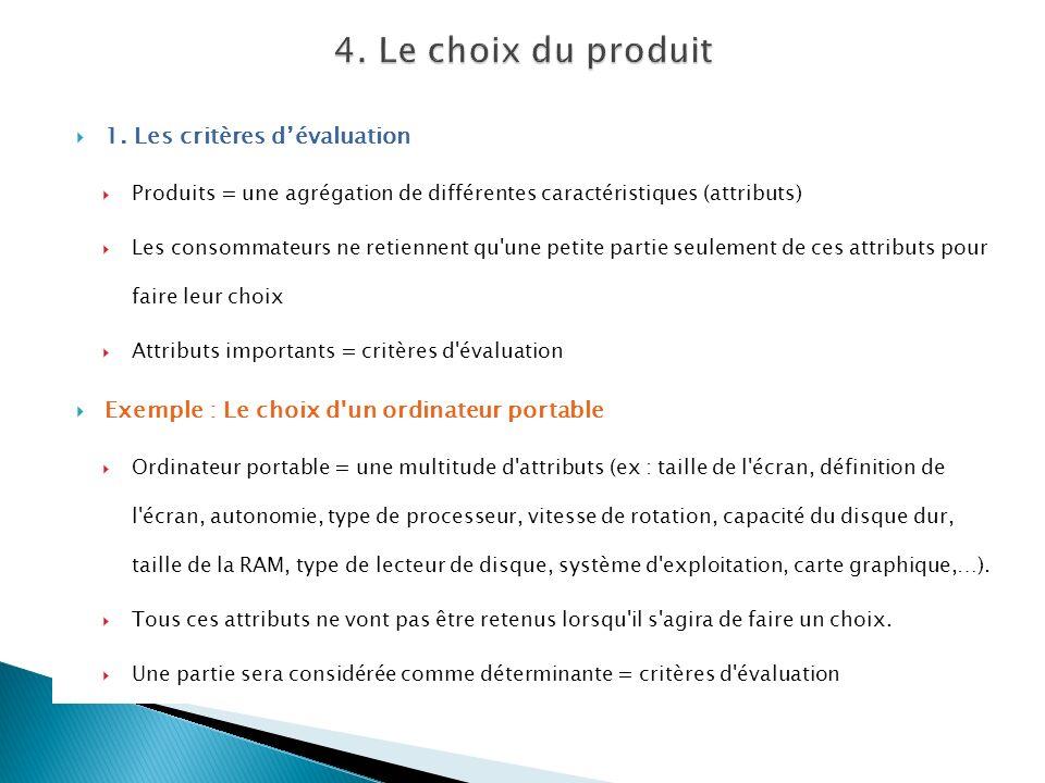 1. Les critères dévaluation Produits = une agrégation de différentes caractéristiques (attributs) Les consommateurs ne retiennent qu'une petite partie