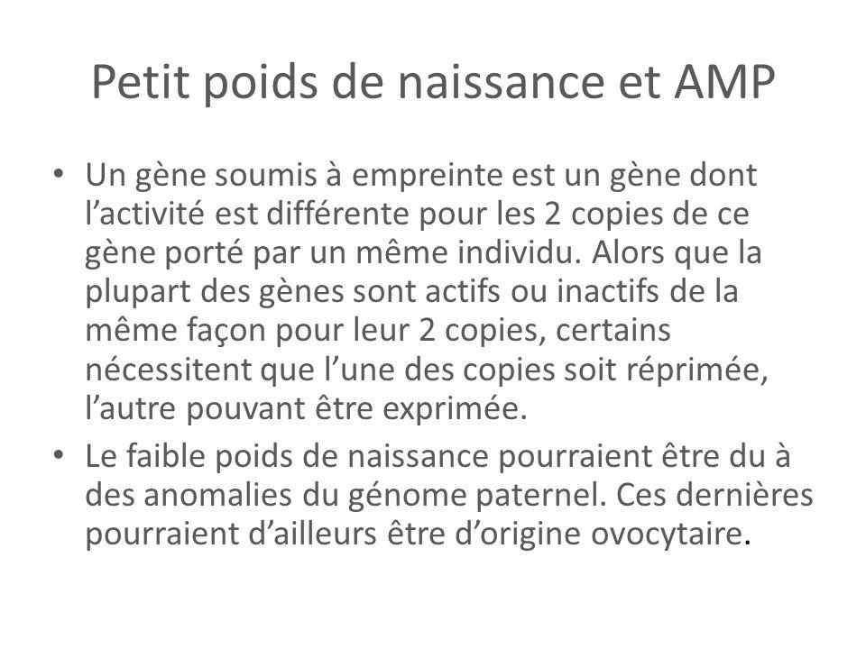 Petit poids de naissance et AMP Un gène soumis à empreinte est un gène dont lactivité est différente pour les 2 copies de ce gène porté par un même in