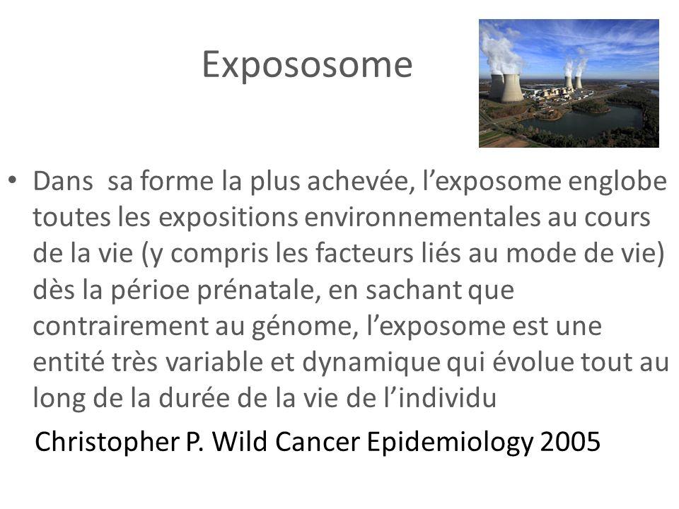 Expososome Dans sa forme la plus achevée, lexposome englobe toutes les expositions environnementales au cours de la vie (y compris les facteurs liés a