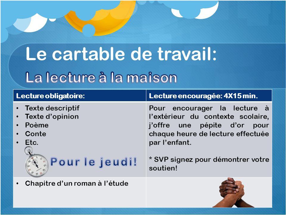 Lecture obligatoire:Lecture encouragée: 4X15 min.