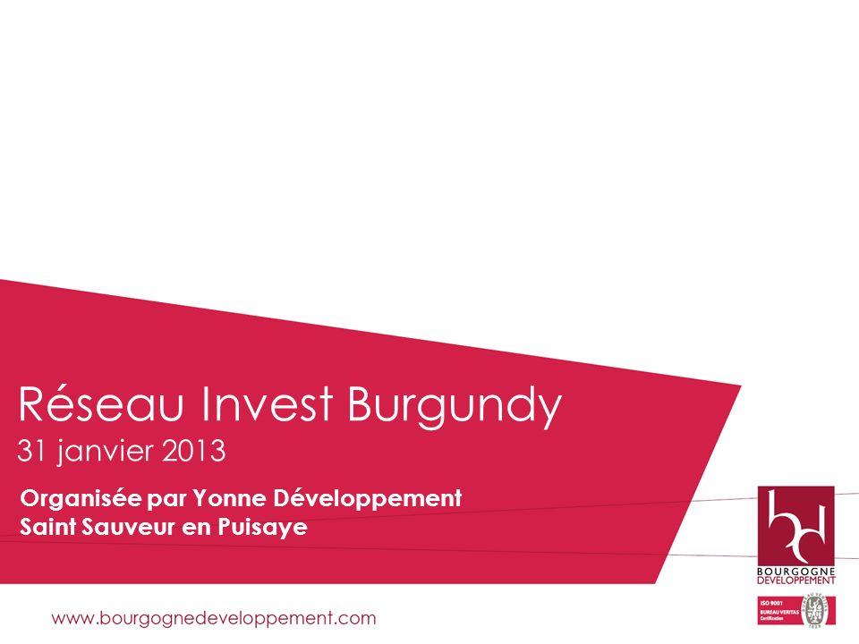 Réseau Invest Burgundy 31 janvier 2013 Organisée par Yonne Développement Saint Sauveur en Puisaye