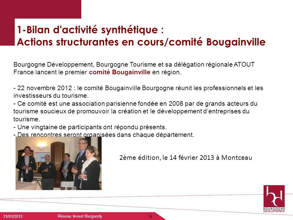 1-Bilan d'activité synthétique : Actions structurantes en cours/comité Bougainville 31/01/2013 Réseau Invest Burgundy 14 Bourgogne Développement, Bour