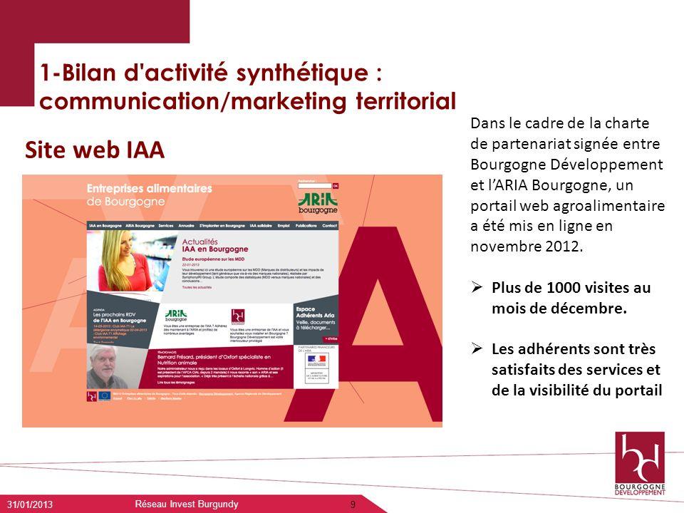 1-Bilan d'activité synthétique : communication/marketing territorial 31/01/2013 Réseau Invest Burgundy 9 Site web IAA Dans le cadre de la charte de pa