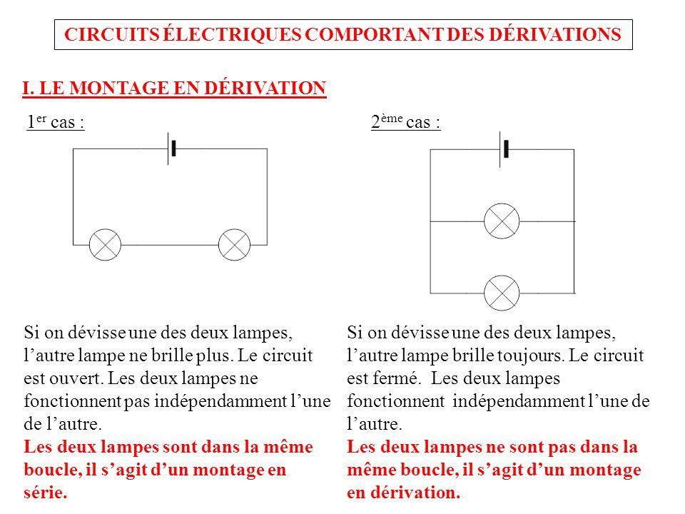 CIRCUITS ÉLECTRIQUES COMPORTANT DES DÉRIVATIONS I. LE MONTAGE EN DÉRIVATION Si on dévisse une des deux lampes, lautre lampe ne brille plus. Le circuit