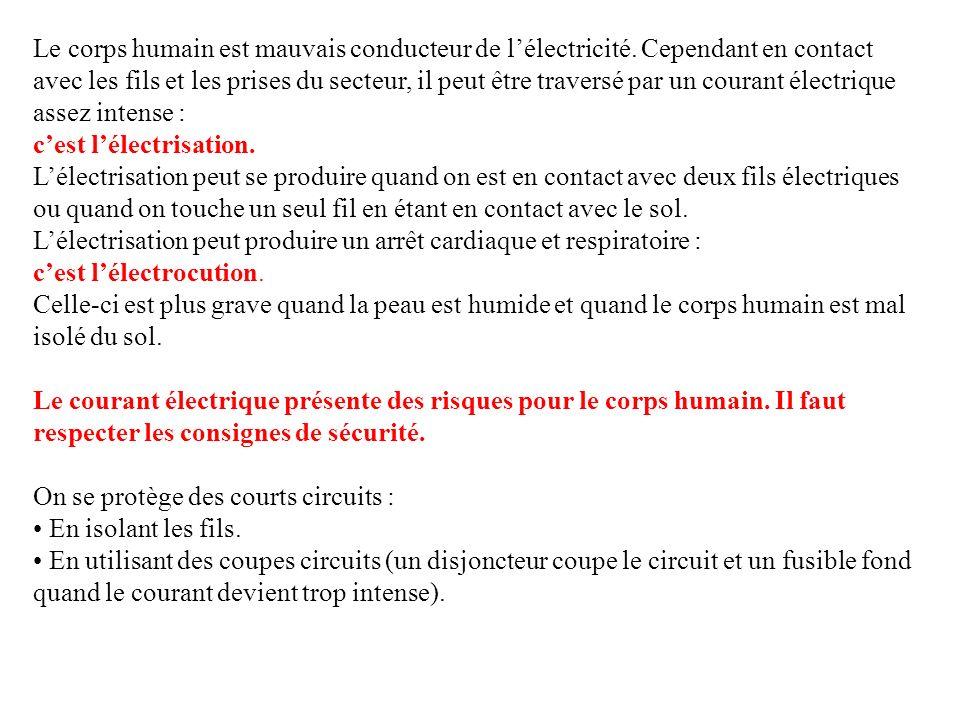 Le corps humain est mauvais conducteur de lélectricité. Cependant en contact avec les fils et les prises du secteur, il peut être traversé par un cour
