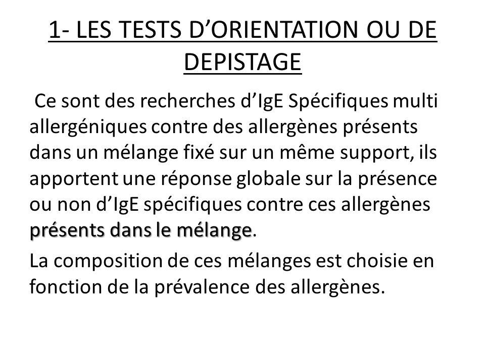Dans lallergie respiratoire plusieurs tests sont proposés: -Phadiatop* : le contenu des allergène est inconnu -Alatop*: 12 pneumallergènes -Lilatop*: 11 pneumallergènes -Allergyscreen*: 20 pneumallergènes -Stallescreen*: variable -Stallergène*: 10 pneumallergènes …etc