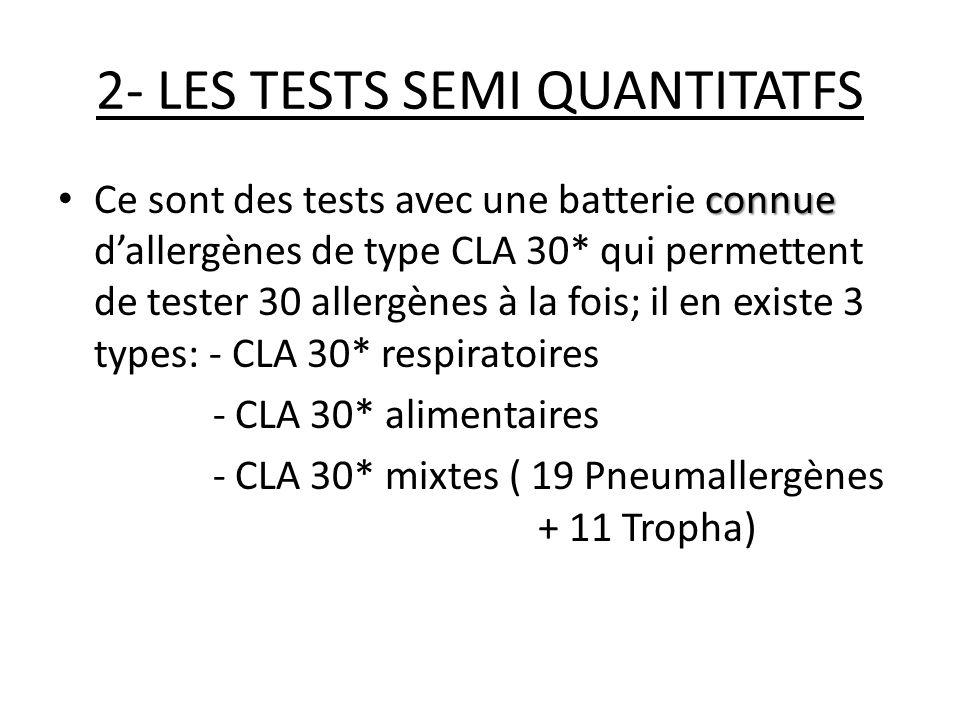 AVANTAGES Même si le CLA 30* est critiqué pour son manque de sensibilité, il a le mérite dexplorer une batterie quasi complète dallergènes sur un même prélèvement avec un coût modéré; il reste un test intéressant sil est bien techniqué et bien interprété et il permet didentifier les réactions croisés.