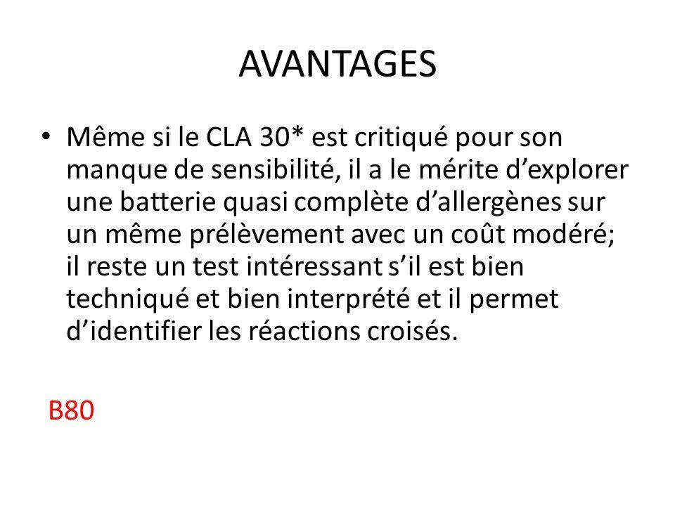 INTERPRÉTATION CLA ClasseULs nettesConcentration d IgE 4> 242Niveau très élevé 3143-242Niveau élevé 266-142Niveau modéré 127-65Faible niveau 0/112-26Très faible niveau 00-11Aucune IgE détectée