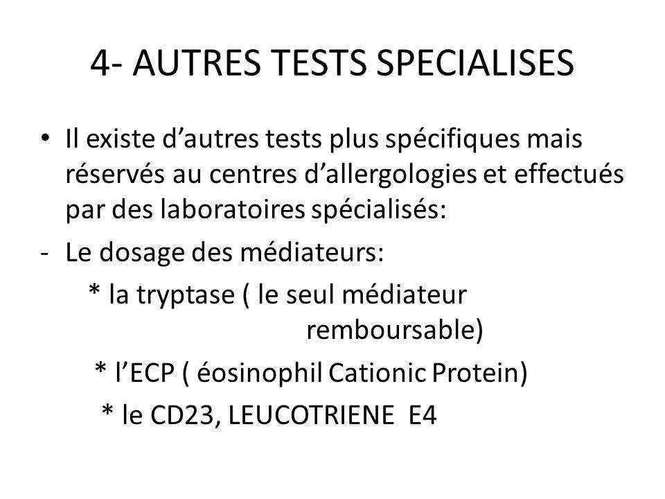 AUTRES TESTS SPÉCIFIQUES - le Test dactivation des Basophiles - les tests de provocation ( à faire en milieu hospitalier…) ELISPOT* : HSR IgG/IgG4 pour le suivi des désensibilisations.