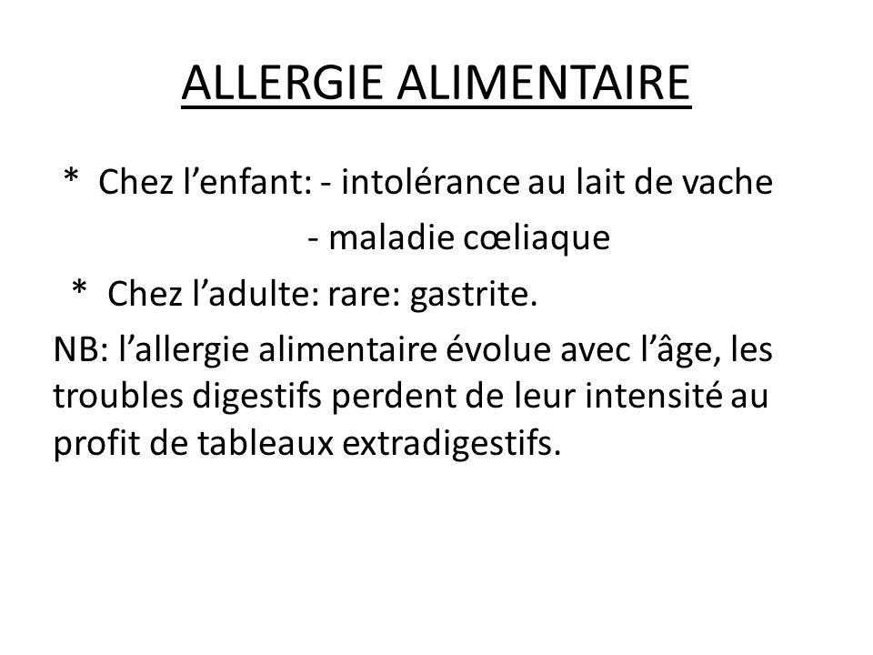 ALLERGÈNES ALIMENTAIRES (TROPHALLERGÈNES) Lait de vache Céréales Œuf de poule (Albumine) Légumineuses (Soja et Arachide) Poissons et crustacées Agrumes