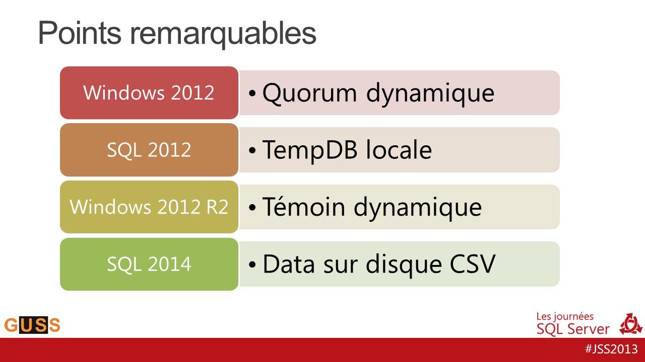 #JSS2013 Quorum dynamique Windows 2012 TempDB locale SQL 2012 Témoin dynamique Windows 2012 R2 Data sur disque CSV SQL 2014 Points remarquables
