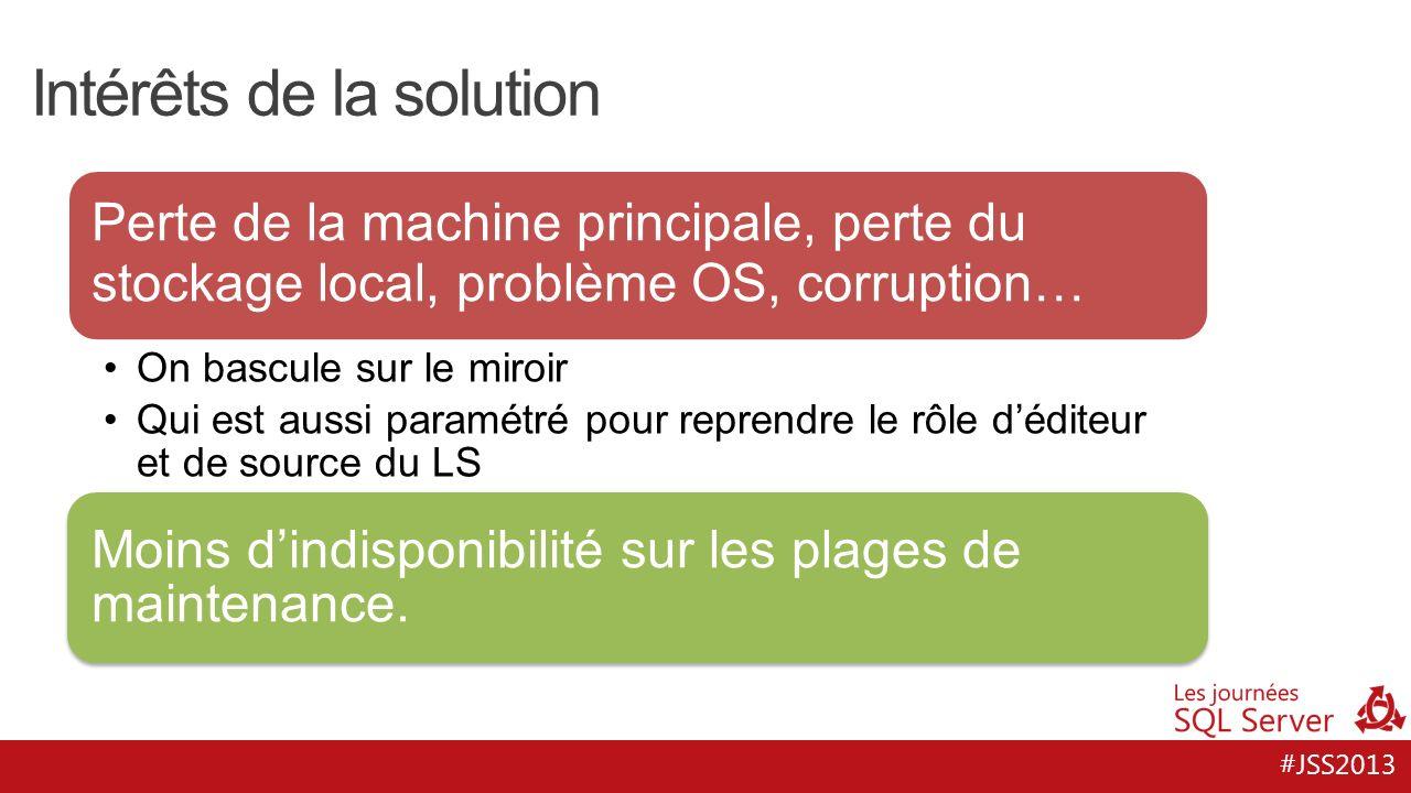 #JSS2013 Intérêts de la solution Perte de la machine principale, perte du stockage local, problème OS, corruption… On bascule sur le miroir Qui est au
