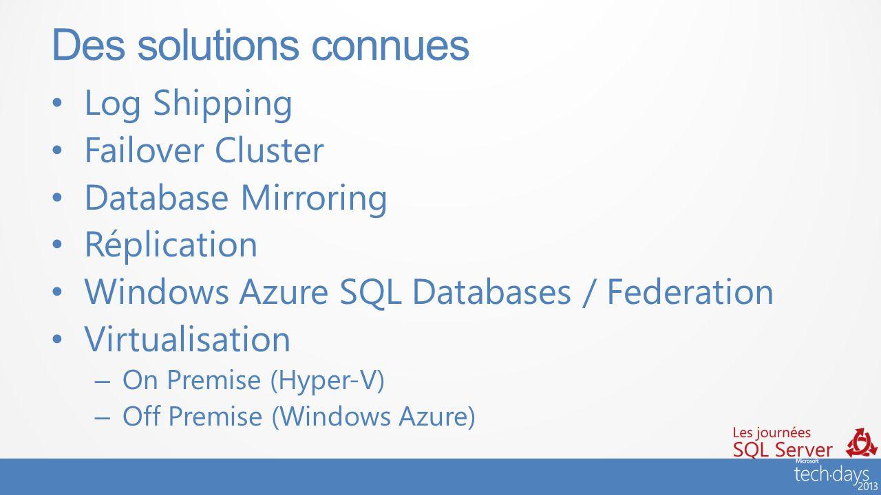 #JSS2013 Log Shipping Failover Cluster Database Mirroring Réplication Windows Azure SQL Databases / Federation Virtualisation – On Premise (Hyper-V) –