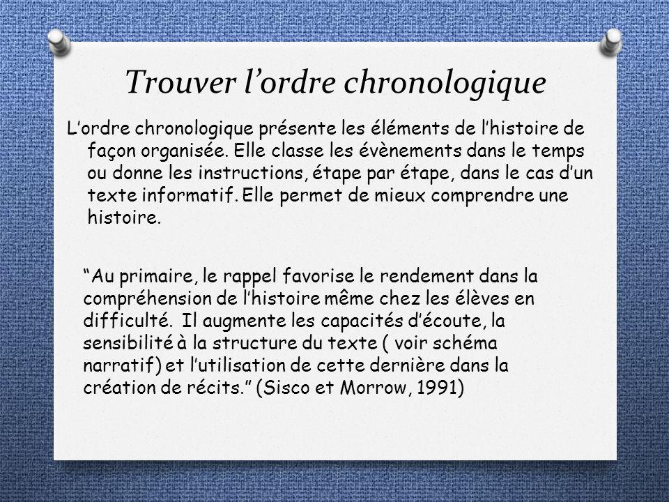 Trouver lordre chronologique Lordre chronologique présente les éléments de lhistoire de façon organisée. Elle classe les évènements dans le temps ou d