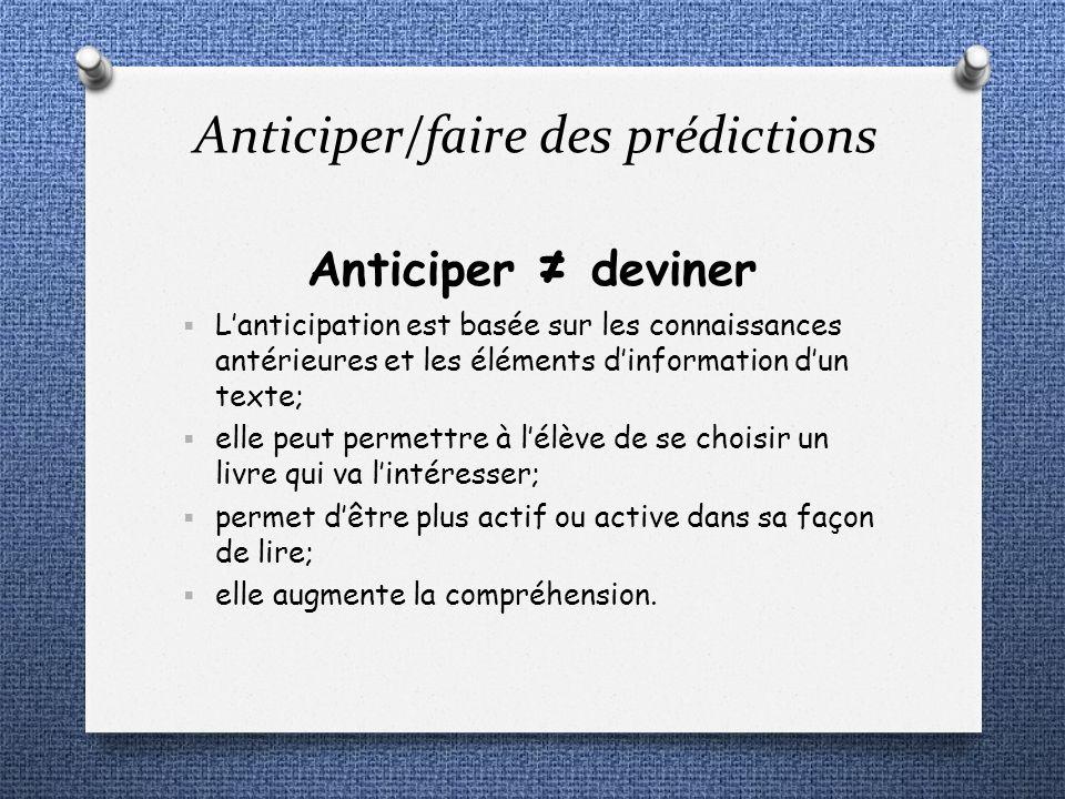 Anticiper deviner Lanticipation est basée sur les connaissances antérieures et les éléments dinformation dun texte; elle peut permettre à lélève de se