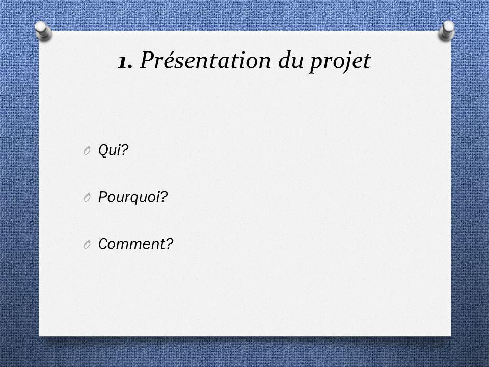 1. Présentation du projet O Qui? O Pourquoi? O Comment?