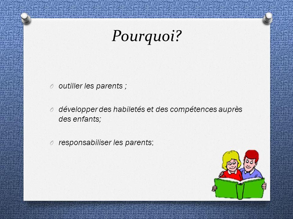 Pourquoi? O outiller les parents ; O développer des habiletés et des compétences auprès des enfants; O responsabiliser les parents;