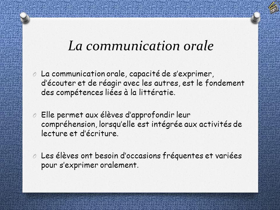 La communication orale O La communication orale, capacité de sexprimer, découter et de réagir avec les autres, est le fondement des compétences liées