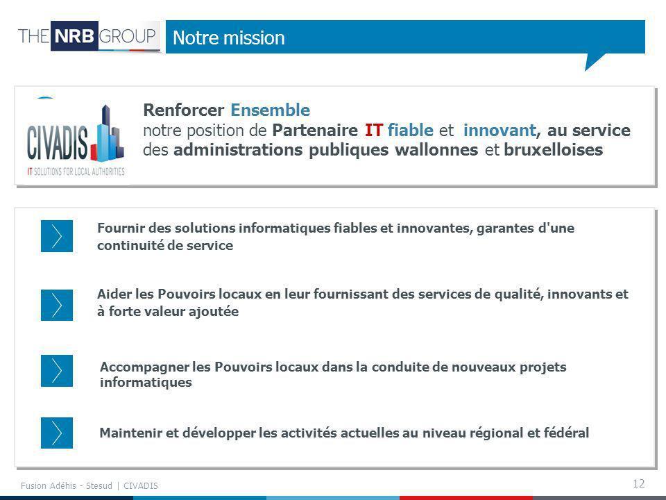 12 Notre mission Renforcer Ensemble notre position de Partenaire IT fiable et innovant, au service des administrations publiques wallonnes et bruxello