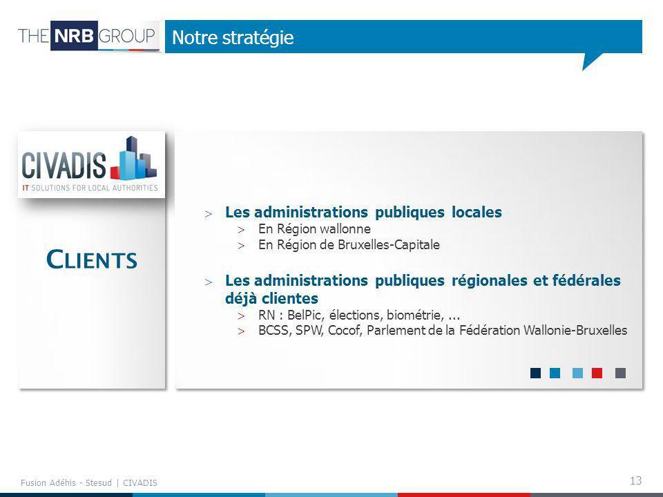 13 Notre stratégie Fusion Adéhis - Stesud | CIVADIS Les administrations publiques locales En Région wallonne En Région de Bruxelles-Capitale Les admin