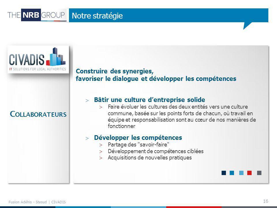 16 Notre stratégie Fusion Adéhis - Stesud | CIVADIS Bâtir une culture dentreprise solide Faire évoluer les cultures des deux entités vers une culture
