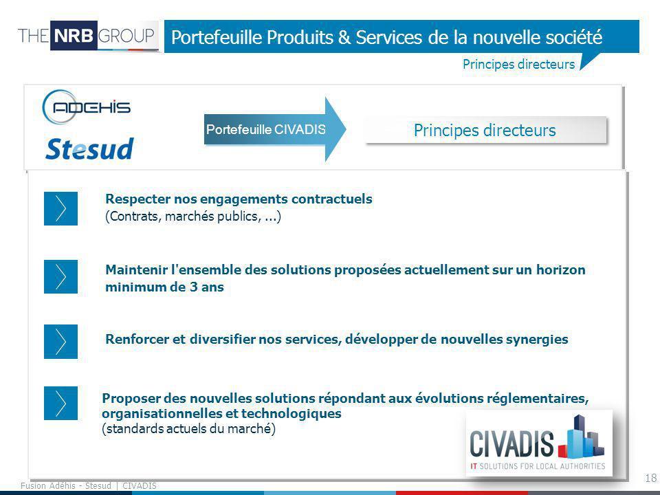 18 Principes directeurs Portefeuille Produits & Services de la nouvelle société Respecter nos engagements contractuels (Contrats, marchés publics,...)