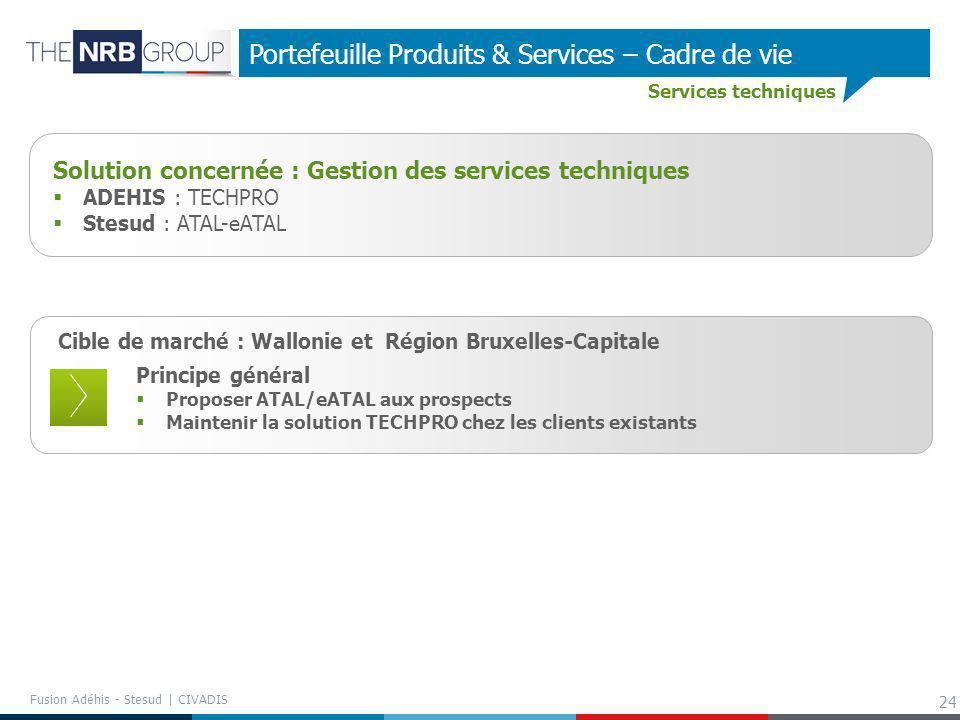 24 Portefeuille Produits & Services – Cadre de vie Services techniques Cible de marché : Wallonie et Région Bruxelles-Capitale Principe général Propos